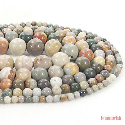 Natural Ocean Jasper Gemstone Round Spacer Beads 15.5'' 4mm 6mm 8mm 10mm 12mm