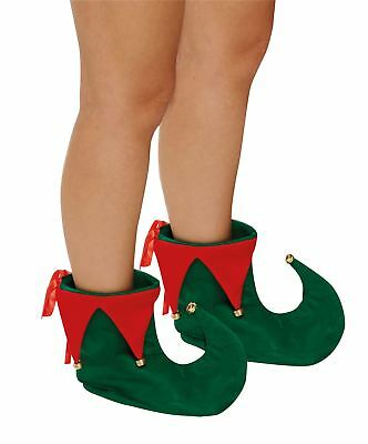 Elf Boot Christmas Shoes Adult Green Red Soft Wear Fency Dress Xmas With Bells