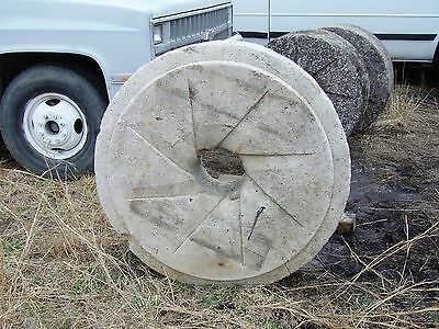 """Antique Mill Stone Grinding Wheels 36""""Dia 15 1/2"""" thick & 42""""Dia 12"""" thick"""