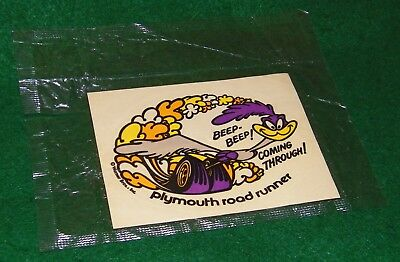 vintage ORIGINAL Plymouth ROAD RUNNER sticker / decal in ORIGINAL package