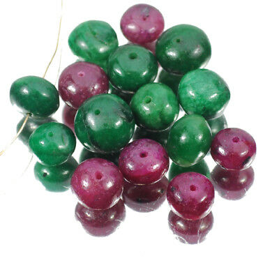 105.40 Carats Natural Top Emerald & Ruby Round Cab Drilled Beads Lot For Jewelry