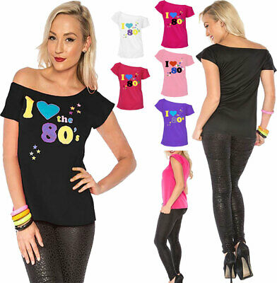 Womens I Love The 80s T Shirt Top Ladies 80s Parties Fancy Tees Top