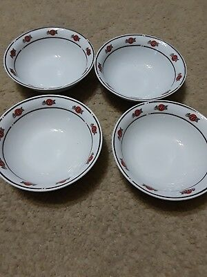 4 Sakura Coca-Cola Coke Soup Cereal Bowls White Red Black