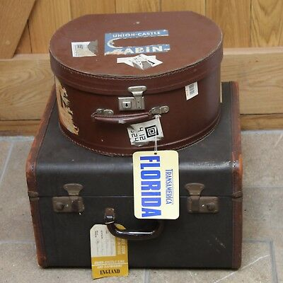 Vintage Luggage, (Hat Box, Trunk) with original labels and stickers