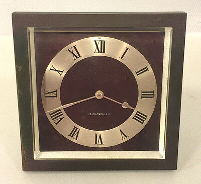 Antique Art Deco Bronze Clock J E Caldwell Beveled Glass Runs Maybe a Chelsea?