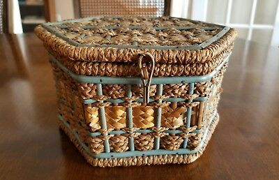 Antique Hexagon Woven Covered Sewing Basket with Cover Satin Lined