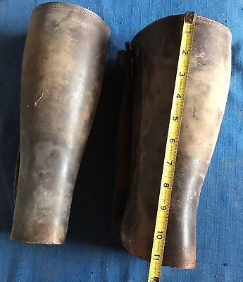 Antique US Leather Military WWI Gaiters Leggings Puttees Spats Steampunk Cosplay