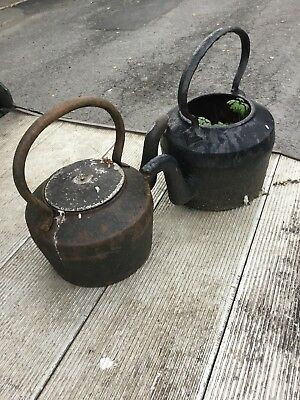 2 Pair Of Vintage Antique Cast Iron Gypsy Kettles Gardening Plant Pots