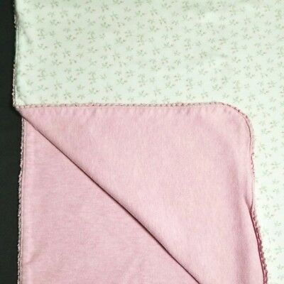 Amy Coe Limited Edition Baby Blanket White Pink Rosebud Floral Reversible Cotton