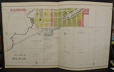 Wisconsin Walworth County Map City of Delavan  1921 -  2 Double Pages J21#42