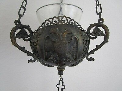 Antique Orthodox Hanging Oil Lamp w/ Byzantine Double Headed Eagle Greek Russian