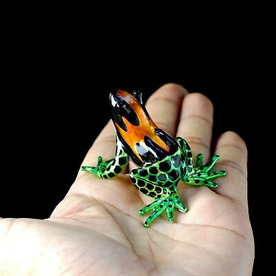 Frog Hand Blown Glass Miniature Figurine Animal Collectibles Art Dec Hand Paint
