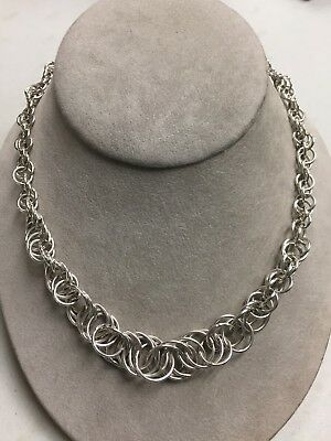 Sterling Silver  Graduated Triple  Circle Link Toggle Clasp Necklace