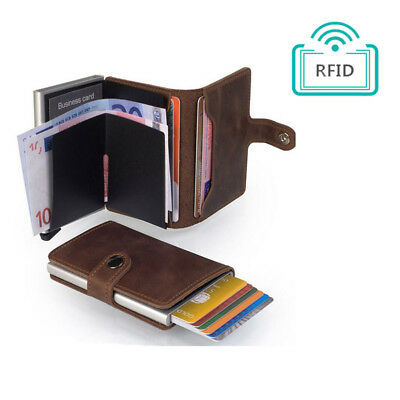 MEN Women PU Leather RFID Blocking Purse Credit Card Holder Money Wallet Clip