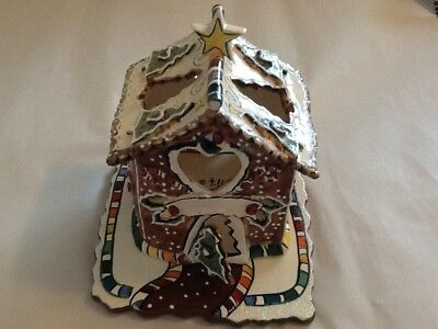 BLUE SKY CLAY WORKS GINGER BREAD HOUSE 2002 with T-lite tray Heather Goldminc