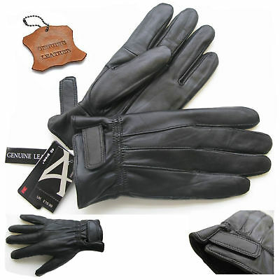 Mens Leather Touch Screen Gloves Thinsulate Lined Soft Warm Driving Real Le