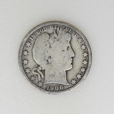 1906-P GOOD Cond Barber Silver Half Dollar Nice Color - I-15146 G