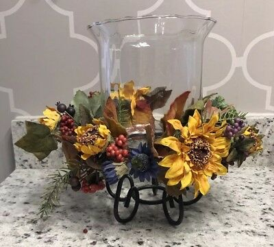 Home Interiors Hurricane Glass & Black Iron Candle Holder with Sunflower Ring