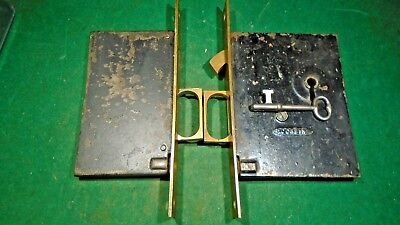 PAIR of CORBIN POCKET DOOR MORTISE LOCKS w/KEY - WORKS GREAT (10812)