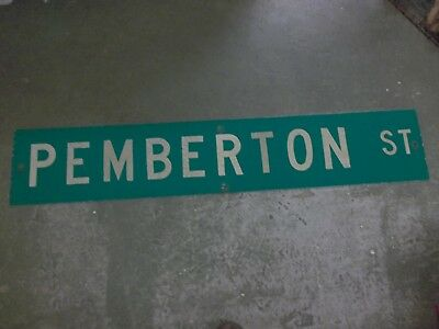 "Large Original Pemberton St Street Sign 48"" X 9"" White Lettering On Green"