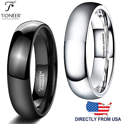 Tungsten Carbide Classic Dome Plain Wedding Band Ring 5MM | FREE ENGRAVING