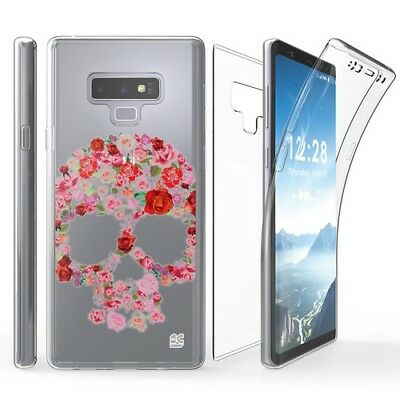 Samsung Galaxy Note 9 Pk Flower Skull Transparent Clear Cell Phone Case SM-N960