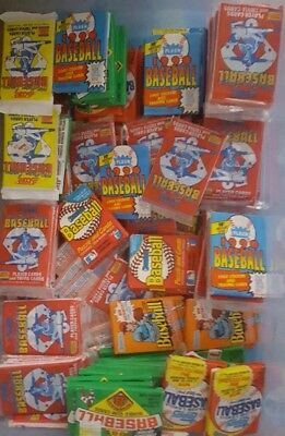 HUGE Lot of 150 Unopened Old Vintage Baseball Cards in Wax Cello Rack Packs
