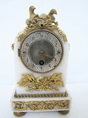 Antique19th C  French Alabaster Gilt Bronze Ormelu Miniature Time-Only Clock.