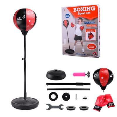 Kids Youth Boxing Speed Ball Training Punching Bag Adjustable Height + Gloves