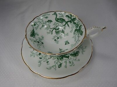 Coalport Cairo Pattern. Cup and Saucer. Green Pattern.