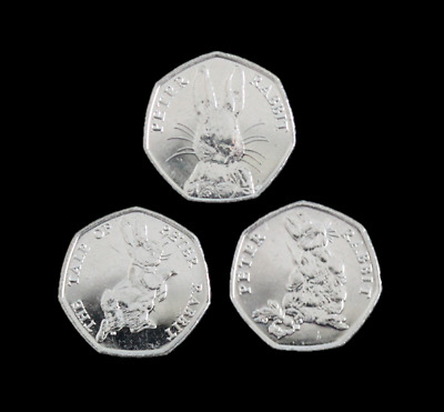2016, 2017 & 2018 Brand New Uncirculated Peter Rabbit 3x 50p Fifty Pence Coins