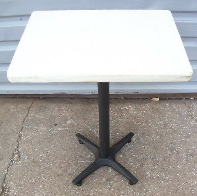 "Restaurant Equipment 24"" x 18"" TABLE TOP WITH BLACK CAST IRON BASE White Top"