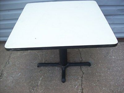 "Restaurant Equipment 35"" SQUARE TABLE TOP WITH CAST IRON BASE White Vinyl Top"