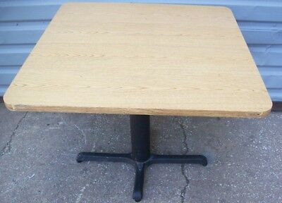 "Restaurant Equipment 35"" SQUARE TABLE TOP WITH CAST IRON BASE Light Oak Top"