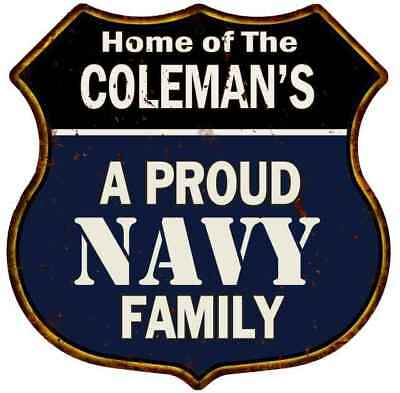 COLEMAN'S Proud Navy Family Personalized Shield Metal 12x12 Gift 211110017102