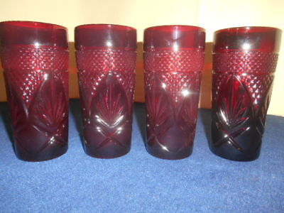"""Vintage Set of 4 Ruby Red Glass LUMINARC France Tumbler d'Arques ARCOROC 6 1/4"""""""