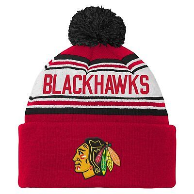 4bf6b53c0e1 NHL Chicago Blackhawks Youth 8-20 Cuffed Reebok Faceoff Knit Pom Hat