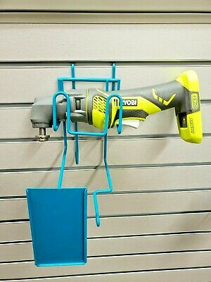 Blue Wire Slatwall Peg Board Retail Display w/ Sign Holder Fits Small Power Tool