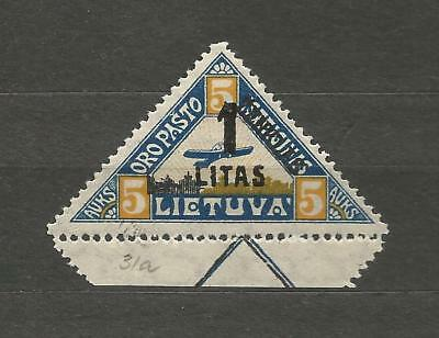 Lithuania Litauen 1922 MH Mi 186 Type II Sc 31 MH New currency Airmail Margin
