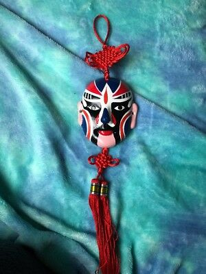 Chinese Knot Tassels Hand-Painted Face Mask Car Decor with Tassel Red