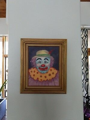 Vintage Clown Original Oil Painting on Canvas Framed and Signed