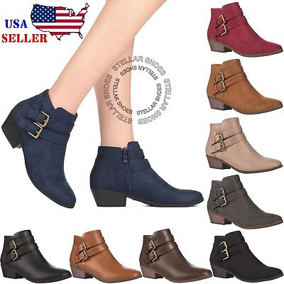 Women's Chunky Booties Low Block Heels Ankle Boots Shoes Zip Casual Shoes