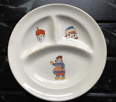 Vintage Raggedy Ann and Andy Ware Ceramic Sectional Child's Plate 1941 JOHNNY GR