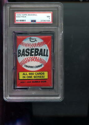 1976 Topps Baseball Card Unopened Wax Pack All 660 One Series NM PSA 7 Graded