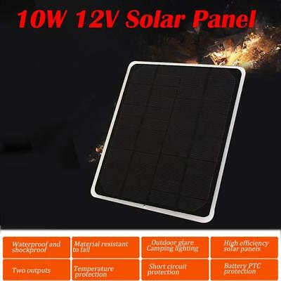 10W 12V Car Boat Solar Panel Battery Charger Outdoor Power Supply Waterproof