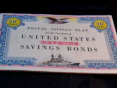 WW2 U. S. Defense Savings Bonds Booklet Some Stamps Excellent Condition