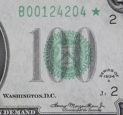 $100 1934A Star Mule Federal Reserve Note B00124204* hundred dollar, FREE SHIP