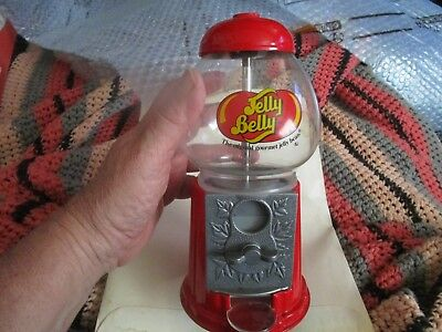Jelly Belly Candy Dispenser - About 10 Inches - Metal & Glass - Red - Gourmet