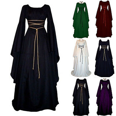 Retro Women's Renaissance Medieval Witch Dress Costume Party Cosplay Fancy Dress