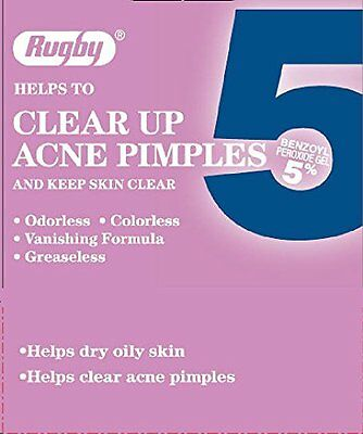 2 Pack - Rugby Acne Medication 5, Benzoyl Peroxide 5%, 1 Oz Each